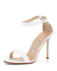1992bf6b82a Now Buy Manolo Blahnik Chaos Leather Ankle-Strap Sandal White Online Save  Up From Outlet Store at Footlocker.