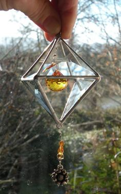 3D double Pyramid suncatcher topaz crystal  by ravenglassgirl