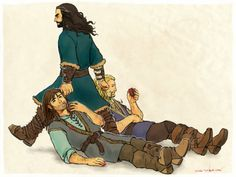 """olgg: """" sackvillebogginses asked you: Can you doodle an exasperated and annoyed Thorin dragging Kili and Fili around by their ears? That would be so awesome. Le Hobbit Thorin, Legolas And Gimli, Hobbit 3, Bilbo Baggins, Thorin Oakenshield, Tauriel, Thranduil, Gandalf, Lotr"""