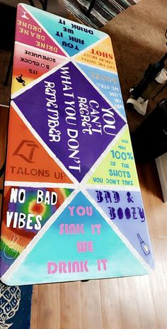 17 Creative Painted Beer Pong Table Ideas - Page 2 of 17 Beer Table, Beer Pong Tables, Ping Pong Table, Diy Table, College Fun, College Crafts, College House, College Parties, College Room