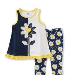 Kids Headquarters Navy & White Daisy Tank & Leggings - Infant, Toddler & Girls | zulily