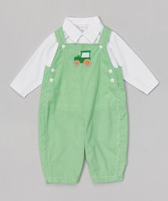 Look what I found on #zulily! Green Gingham Tractor Appliqué Overalls & White Shirt - Infant #zulilyfinds