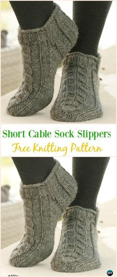 Knit Adult Slippers & Boots Free Patterns Written Tutorials Short Cable Sock Slippers Free Knitting Pattern - Adult Free Patterns Record of Knitting Yarn spinni. Loom Knitting, Knitting Stitches, Knitting Socks, Knitting Needles, Knitting Patterns Free, Free Knitting, Baby Knitting, Knit Patterns, Knitting Ideas