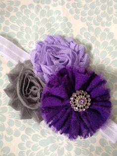 Infant Headbands - Baby Headbands - Newborn Headbands - Purple and Grey Shabby Rosette Headband - Photo Prop - Fall on Etsy, $9.50