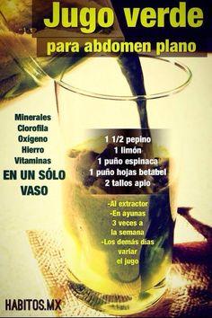 Jugo verde para el abdomen plano - Green juice for flat absJugos verdes Healthy Juices, Healthy Smoothies, Healthy Drinks, Healthy Tips, Healthy Recipes, Healthy Food, Healthy Style, Juice Smoothie, Detox Drinks