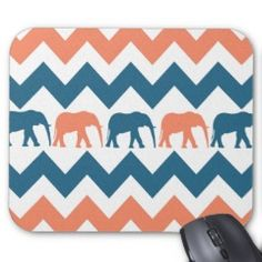 Hot Pink and Orange Elephants Chevron Pattern Gifts Elephant Love, Zig Zag Pattern, Coral Blue, My Dear Friend, Elephants, Blue Stripes, Ipad Case, Laptop Sleeves, Hot Pink