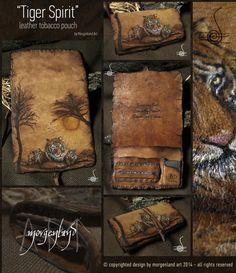 Tiger Spirit-leather tobacco pouch by morgenland.deviantart.com on @DeviantArt