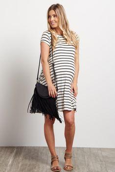Black Striped Short Sleeve Dress
