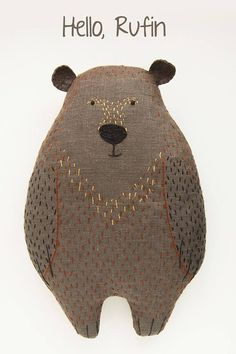 Woodland plush bear animal shaped pillow gray animal soft