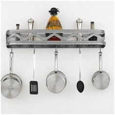 Hi-Lite Sonoma Wall Mounted Pot Rack Accent Finish: Silver Accents, Copper Insert: Yes, Base Finish: Powder Coat Rust