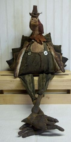 Primitive Grungy Turkey Jack Thanksgiving Doll with Long Legs & Sculpted Feet #NaivePrimitive