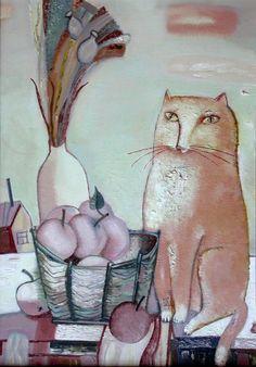 "Tatiana Gorshunova - ""Cat and apples"", 2001"