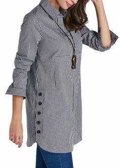 Design Of Long Shirts | Pocket Design Button Closure Long Sleeve Shirt Rosewe Com Usd
