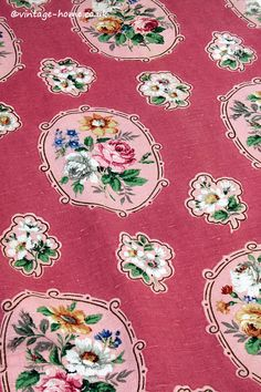 Vintage Home Shop - Beautiful Vintage Sanderson Linen Pink Floral Cameo Fabric: www.vintage-home.co.uk
