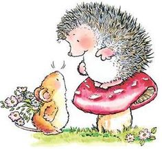 *Penny Black Rubber Stamp GUESS WHAT Hedgy Hedgehog Mouse I like the colors used, very pretty.