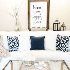 Family Room at it's best.  Navy and white with a beatiful aged barnwood sign.  #Regram via @whimzicalwoods