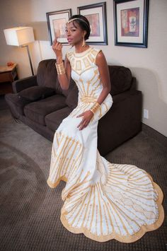 African Wedding Dresses with a Twist, Modern African Dresses Couture African Wedding Attire, African Attire, African Dress, Couture, Shweshwe Dresses, African Traditional Wedding, African American Weddings, Dress Hairstyles, African Design