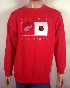 vtg 90s euc Detroit Red Wings Sweatshirt sewn logos NHL hockey federov SZ L Detroit  Red c776ca513