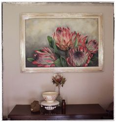 Protea,oil on canvas by Christelle Pretorius. www.christelledv@live.com Flower Painting Canvas, Painting Prints, Painting & Drawing, Canvas Art, Protea Art, Protea Flower, Africa Art, Painting Inspiration, Art Pictures