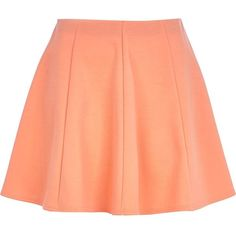 River Island Light orange skater skirt ($12) ❤ liked on Polyvore featuring skirts, bottoms, faldas, jupe, sale, panel skirt, orange skater skirt, red circle skirt, river island and skater skirt