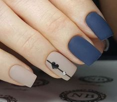 A manicure is a cosmetic elegance therapy for the finger nails and hands. A manicure could deal with just the hands, just the nails, or Heart Nail Designs, Acrylic Nail Designs, Nail Art Designs, Nails Design, Acrylic Nails, Valentine Nail Designs, Matte Gel Nails, Blue Matte Nails, Navy Blue Nails