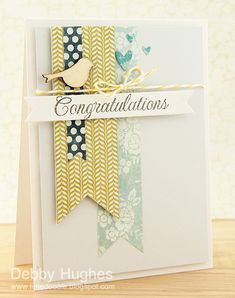 """Patterned paper banners; any sentiment; bird.  My Minds Eye """"Bluebell"""" paper"""