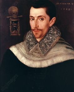 Bull, John English composer c. 1563 – Antwerp 12./13.3.1628.  Portrait at the age of 27.  Painting, 1580. Oxford.