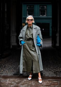 A guest is seen wearing olive skirt, button shirt, blue gloves and bag, grey checkered coat outside Gestuz on Day 1 during Copenhagen Fashion Week Autumn/Winter 2020 on January 2020 in. Trend Fashion, Fashion 2020, London Fashion, New York Fashion, Star Fashion, Autumn Fashion, Fashion Outfits, Fashion Weeks, Fashion Photo