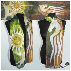 silk scarf ROHAN HORSES long silk scarves hand by MinkuLUL