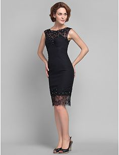 Sheath/Column Plus Sizes Mother of the Bride Dress - Black Knee-length Sleeveless Chiffon/Tulle – USD $ 85.49