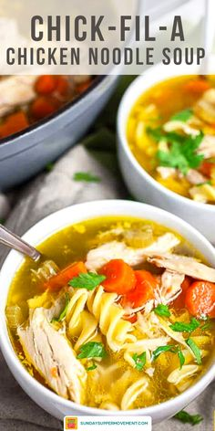 Our Chick-fil-A chicken noodle soup recipe is the best homemade chicken noodle soup you will ever try! It's a healthy chicken noodle soup that's hearty, comforting, and easy to make, too. #SundaySupper #chickfila #chickennoodlesoup #chickennoodle #soup #soups #souprecipes #souprecipe #easyrecipes #copycat #copycatrecipe Chick Fil A Soup Recipe, Best Chicken Soup Recipe, Healthy Chicken Soup, Homemade Chicken Soup, Mac And Cheese Homemade, Chicken Recipes, Simple Noodle Soup Recipe, Easy Soup Recipes, Simple Chicken Noodle Soup