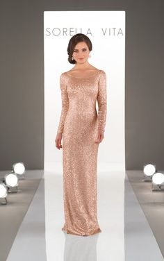 For the ultimate glamorous effect, the new long-sleeved sequin sheath bridesmaid gown from Sorella Vita will show off your bridal party's classic style.