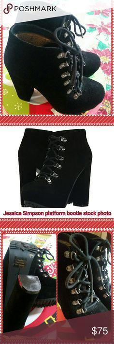 🔴SALE🔴Jessica Simpson Gannan Platform Booties Black split suede worn 1 time. Jessica Simpson Shoes