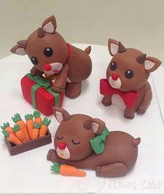 Reindeer clay sculptures