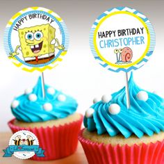 """INSTANT DOWNLOAD - Editable SpongeBob Squarepants Birthday Party - Cupcake Topper - 2"""" party circle- Personalized with name"""