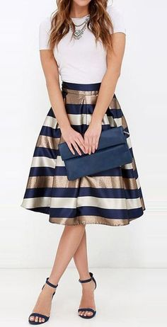 New Collection Sexy Women Stretch Natural Waist Pleated Striped Printed Casual Knee-length Skirt