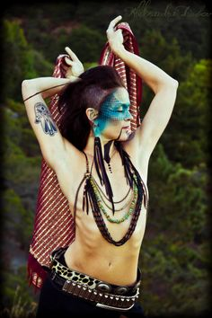 Urban Warrior Beaded Breastplate Body by ladyhawkLOVE. This picture.her makeup, everything about this picture. Body Chain Jewelry, Tribal Fusion, Belly Dancers, Dead Gorgeous, Beautiful Body, Skin Art, Bohemian Style, Editorial Fashion, Cosplay