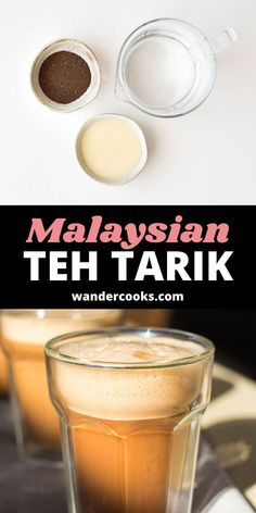 """This Southeast Asian sweet drink, locally known as teh tarik or """"pulled tea"""", is a blast to make. Test your pouring skills to the max for the perfect froth on top of this addictive bitter sweet teh tarik recipe. Healthy Asian Recipes, Asian Snacks, Asian Desserts, Sweet Desserts, Vietnamese Iced Coffee, Ice Milk, Fancy Drinks, Easy Weeknight Meals, New Flavour"""