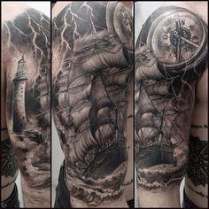 Cris Gherman #tattoo #galleon #sea #compass