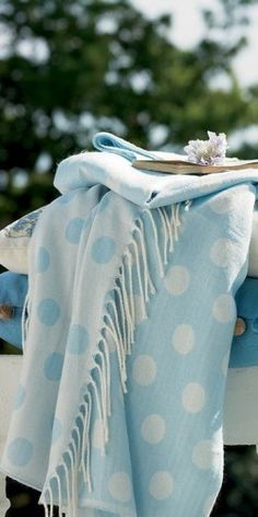 Blue and white polka dot throw.  What's not to love?