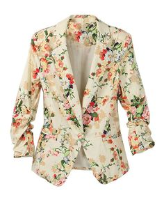 All-Over Floral Print Blazer with Single Button Front