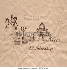 Saint Isaac cathedral in St Petersburg, Russia. Sketch on crumpled kraft paper background. Vector illustration. - stock vector