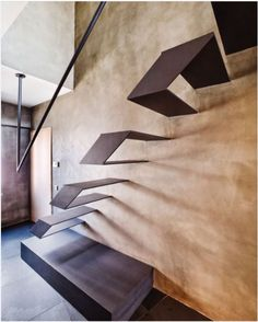 Floating metal stairs and concrete walls. Geometric abstract minimal interior architecture and design Architecture Design, Cabinet D Architecture, Amazing Architecture, Loft Design, House Design, Escalier Design, Futuristic Interior, Interior Stairs, Staircase Design