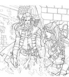 Celaena/Aelin and Rowan, colouring book of Throne of Glass. Just amazing!