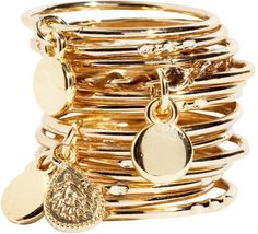 #gold #stacked #bracelets
