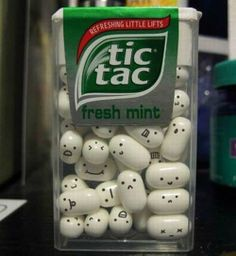 funny tic tacs, no instructions- but could do with an edible food marker..... would be so fun for kids and friends..