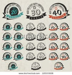 Vintage style anniversary sign collection. Anniversary cards design in retro style. by Vector Maker, via ShutterStock