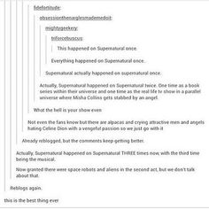 If you count the convention, supernatural happened on supernatural four times