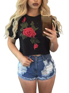 $19.99 Hualong Summer Short Sleeve Floral Crop Top    #hualongdress #makeup #beautiful #happy #girl #like #pretty #woman #love #tap #followme #lips #fabulous #beauty #natural #model #follow #mood #good #happiness #fashion #style #newyork #florida #stylish #sun #streetfashion #croptop