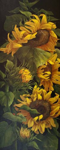 Painting by Page Ough. Happy Flowers, Beautiful Flowers, Sun Flowers, Sunflower Art, Sunflower Paintings, Sunflowers And Daisies, Artwork Display, Mellow Yellow, Beautiful Paintings